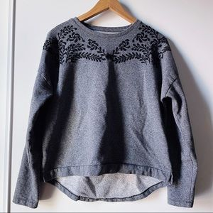 Grey and black floral embroidery sweatshirt